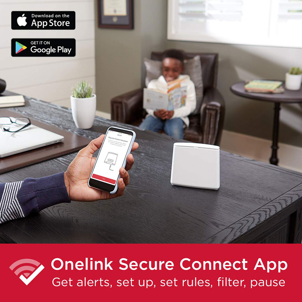 Onelink Secure Connect Tri-Band Mesh Wi-Fi Router System | 2-Pack Whole Home Coverage Up to 5,000 Sq Ft