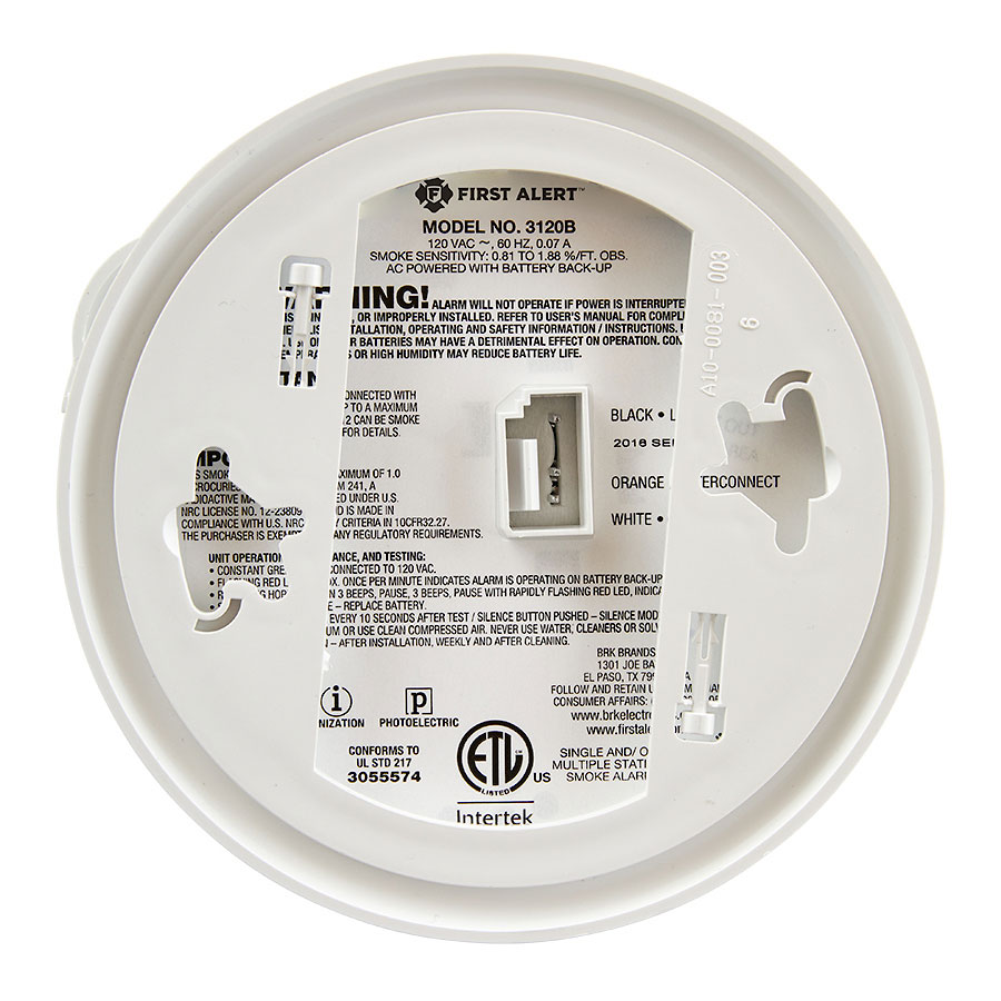 120VAC Hardwired Photoelectric and Ionization Smoke Alarm with Battery Backup - 3120B