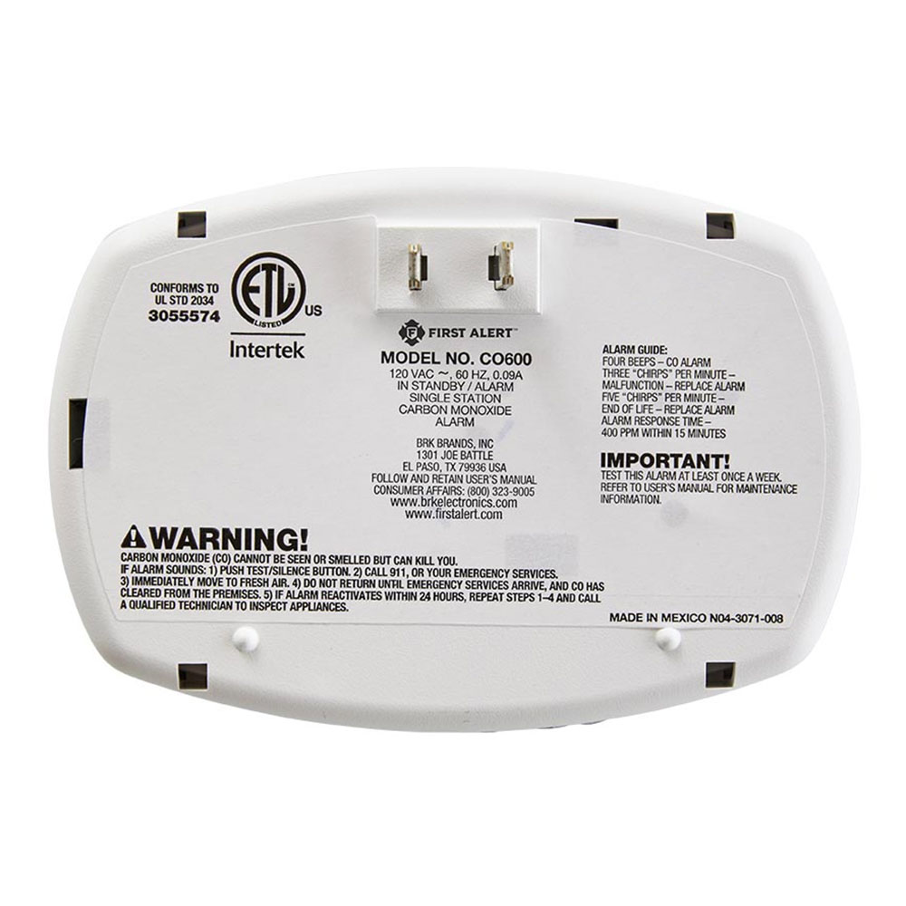 First Alert Basic Plug-In Carbon Monoxide Alarm - CO600 (1039730)
