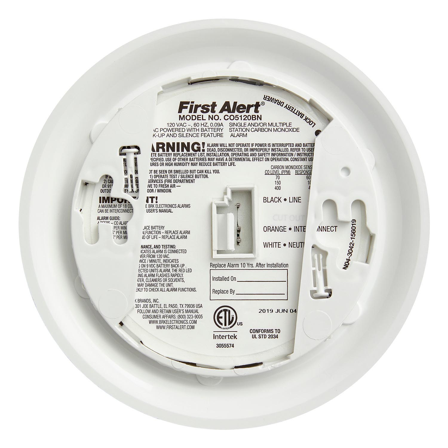 12 Pack Bundle of Hardwired Carbon Monoxide Alarm with Battery Back-up, CO5120BN