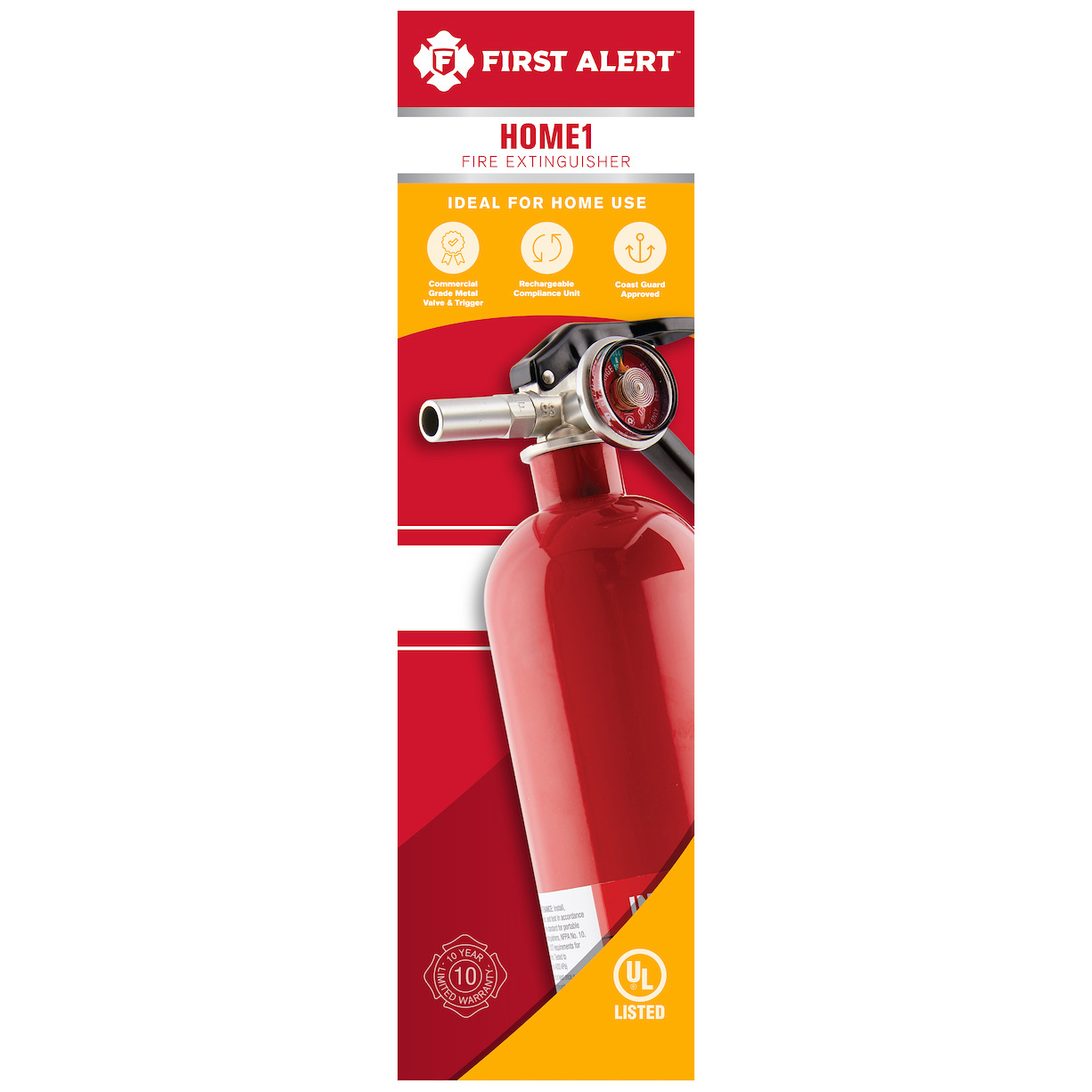 First Alert Rechargeable Home Fire Extinguisher UL Rated 1-A, 10-B:C (Red) - HOME1