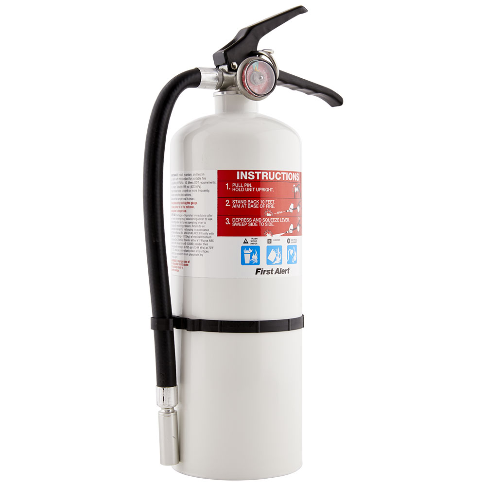 First Alert Rechargeable Compliance Fire Extinguisher UL rated 2-A:10-B:C (White)