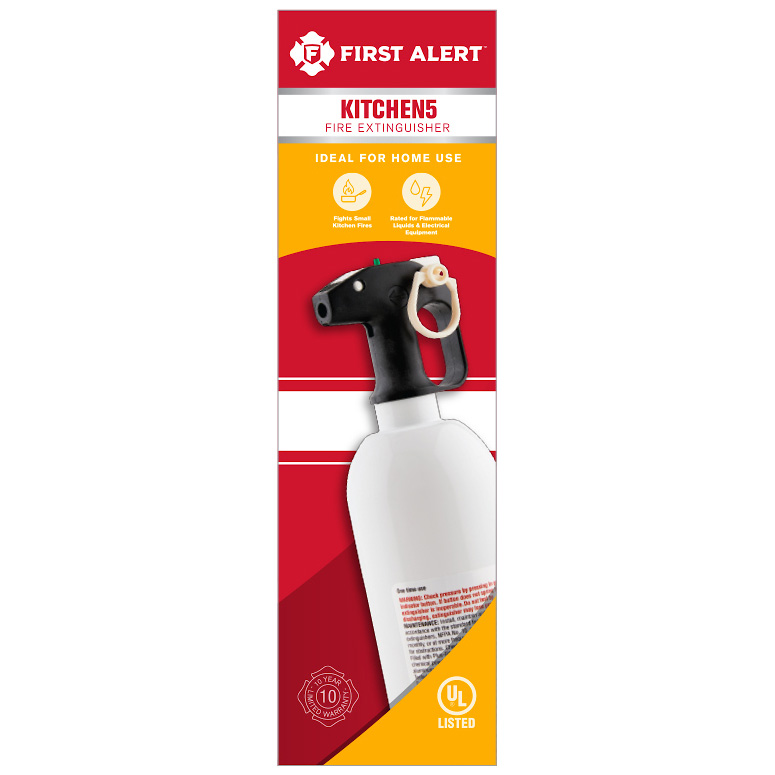 First Alert Kitchen Fire Extinguisher UL Rated 5-B:C (White) - KITCHEN5