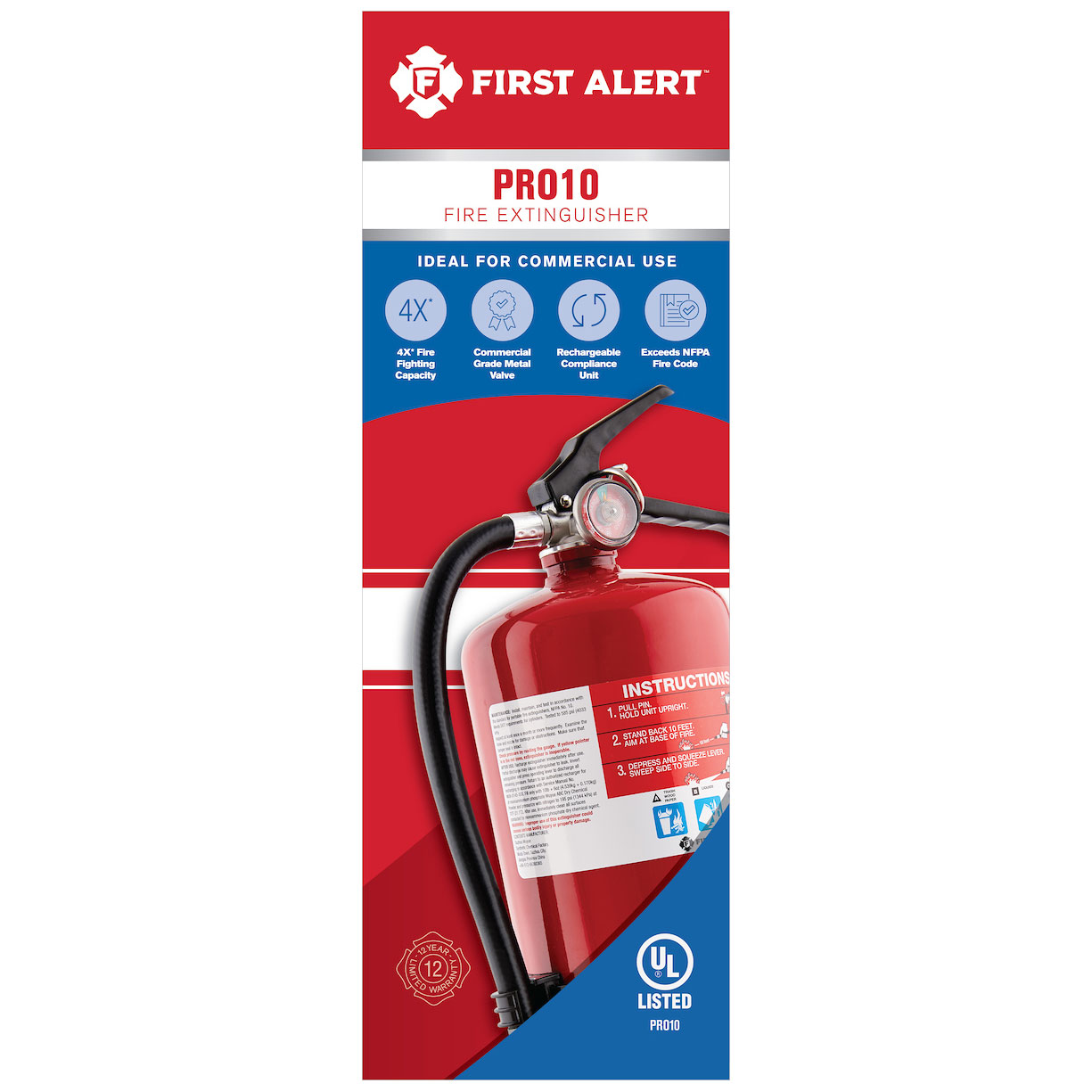 First Alert Rechargeable Commercial Fire Extinguisher UL rated 4-A:60-B:C (Red) - PRO10