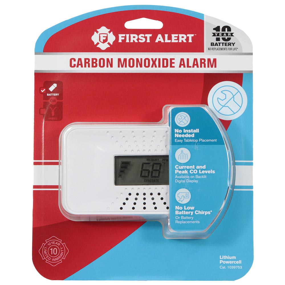 First Alert Carbon Monoxide Alarm with Temperature, Digital Display and 10-Year Sealed Battery - CO710 (1039753)