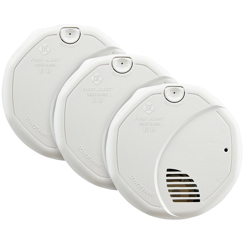 3 Pack Bundle of First Alert Dual Sensor Photoelectric/Ionization Smoke and Fire Alarm with 10-Year Sealed Battery, SA3210