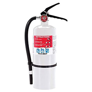 First Alert Rechargeable Compliance Fire Extinguisher UL rated 2-A:10-B:C (White