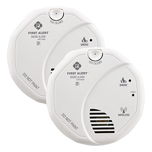 First Alert Wireless Battery Operated Smoke Alarm With Voice Location Twin Pack