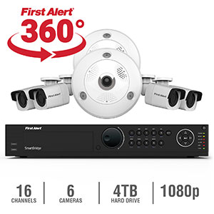First Alert 16 Channel HD 4TB NVR Surveillance System & Cameras - NC1642F4-360